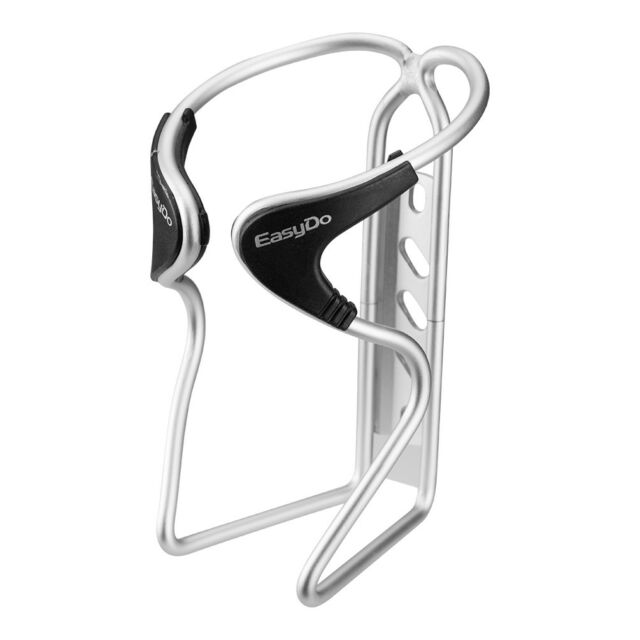 EasyDo Bike Aluminum Water Bottle Cage Water Bottle Holder Black Silver 1pcs
