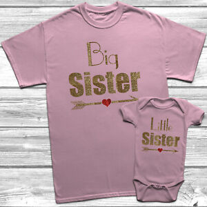 Big Sister Little Sister T Shirt Arrow Heart Kids Baby Grow Sisters Outfits Set Ebay