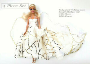 Brand-new-Barbie-doll-clothes-outfit-princess-wedding-evening-bridal-gown-amp-veil