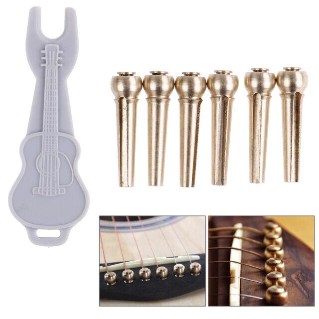 6pcs Brass Premium Bridge Pins Set For Acoustic Guitar Turned String Pegs DD