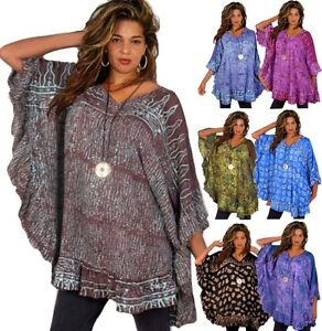Boho-Poncho-tunic-Top-Ruffled-V-Neckline-Batik-Art-One-Size-LotusTraders-G215