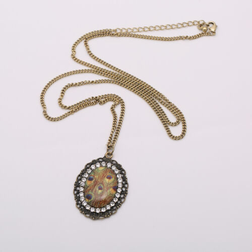 Vintage retro style peacock eye pendant necklace with crystal