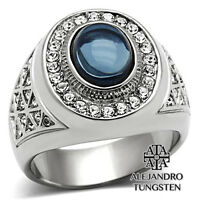 Men's Ring Blue Oval Cut Stainless Steel Silver Luxury Stone Design Size 8 To 13