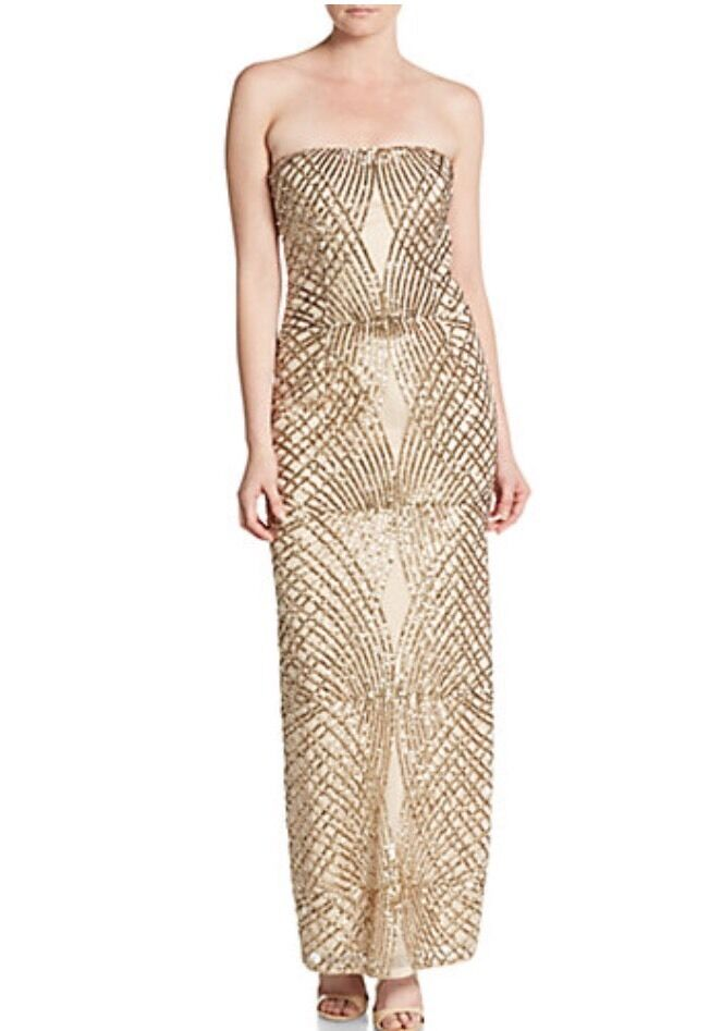 LAUNDRY by SHELLI SEGAL Platinum Sequined Pagent Formal Gown Size 4  NWT