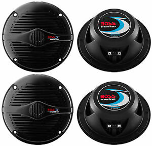 4-BOSS-MR50B-5-25-034-2-Way-300W-Marine-Boat-Car-Coaxial-Audio-Speakers-Black