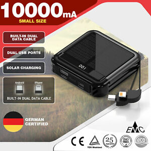 10000mah Solar Power Bank Fast Charger 2USB Ports Portable Mobile Iphone Outdoor