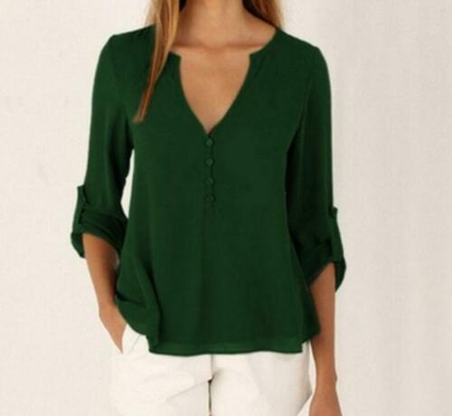 Chiffon Long Sleeve Summer Blouse Loose Women/'s Shirt V-neck 5XL Tops Casual