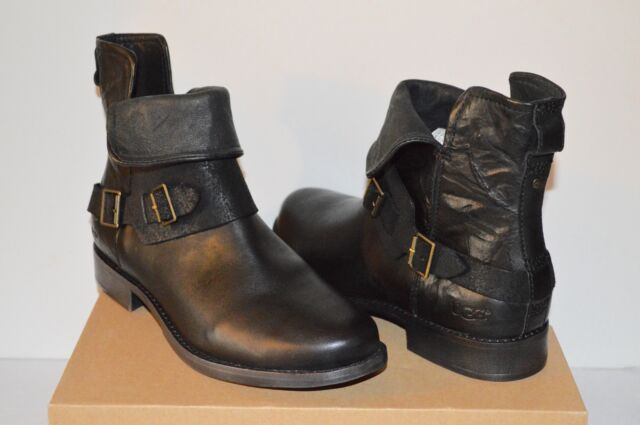 3e13b7054f4 New $225 UGG Cybele Black Distressed Leather Short/Ankle Moto Boot Bootie