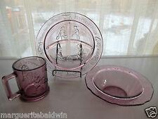 Tiara Indiana Glass Plum Child's Nursery Rhyme Plate, Bowl, Mug Service Set