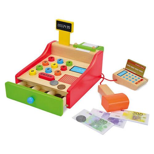Eichhorn Kasse Scannerkasse aus Holz mit Spielgeld Geräte