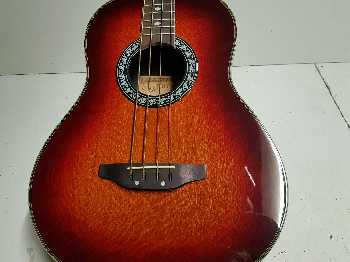 LONG SCALE ROUND BACK ELECTRO ACOUSTIC BASS - BURLED MAPLE TOP