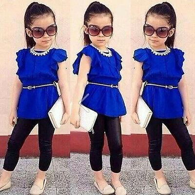 Fashion 2PCS Baby Girls Kids Blue Tee T-shirt +Pants Set Clothes Outfits 2-8Y