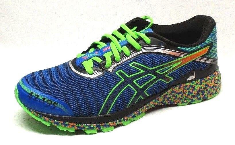 ASICS Men's DinaFlyte Running Shoes,Electric Blue/Green Gecko/Hot Orange,Sze 8.5