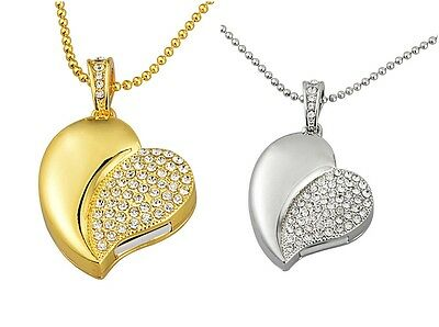 Crystal Heart Pendant USB 2.0 Memory Stick Flash pen Drive 4G 8G 16G 32G USB179