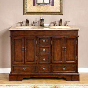 48 Compact Travertine Stone Top Bathroom Vanity Small Double Sink Cabinet 715t