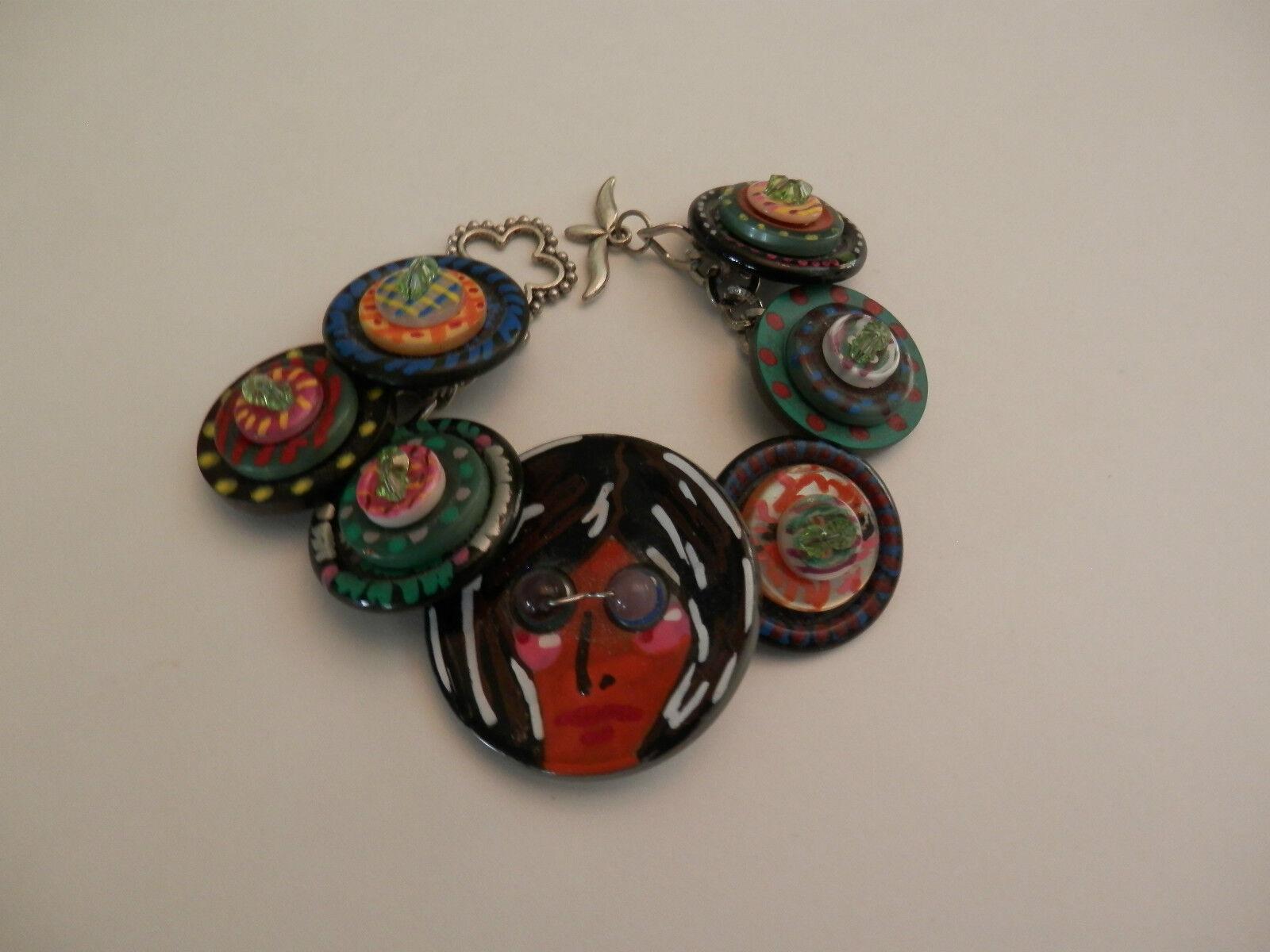 John Lennon Handcrafted Hand Painted Button Charm Bracelet   7 1 2