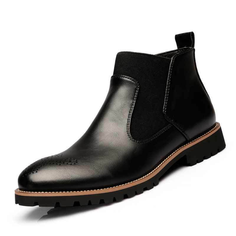 Men's Casual Ankle Oxford Leather Ankle Boots Outdoor Slip On Breathable C81