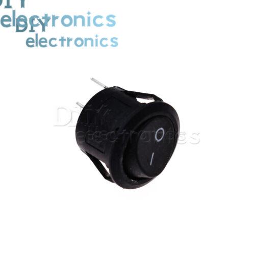 SPST 5Pcs 2//3 Pin On-Off Round Rocker Switch AC 10A//125V,6A//250V Black//Red US