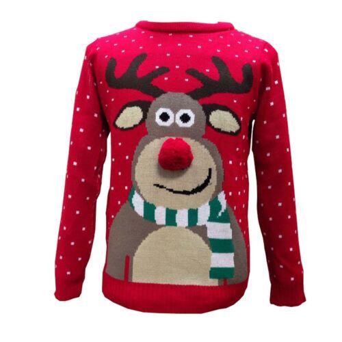 NUOVA L RAGAZZO RAGAZZA Natale Rudolph Pom Pom Naso Novità Retrò Vintage Maglione