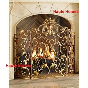 new horchow french acanthus antique ornate old world gold fireplace rh ebay com