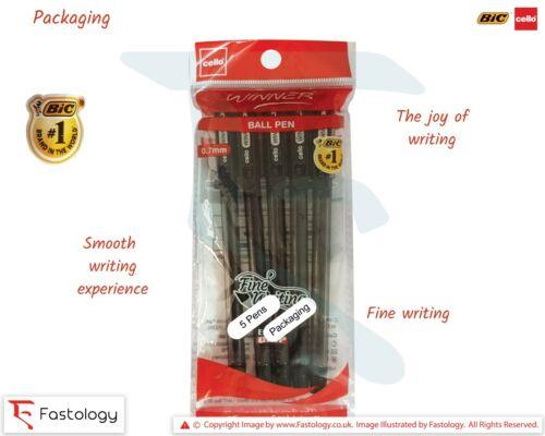 0.5mm Fine Tip BIC CELLO Winner BLACK BLUE RED Smooth Ballpoint Pens Rubber Grip