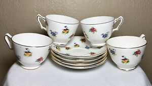 4-Royal-Victoria-Fine-Bone-China-England-Floral-Gold-Teacup-And-Saucer-Sets-8pcs