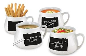 Lot Of 4 Chalkboard Soup Mugs 16oz Black White Personalized Party