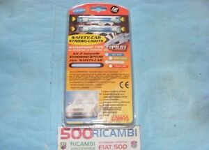FIAT-500-F-L-R-126-KIT-2-LAMPADE-STROBO-STROBOSCOPICHE-SAFETY-CAR-BLU-TUNING