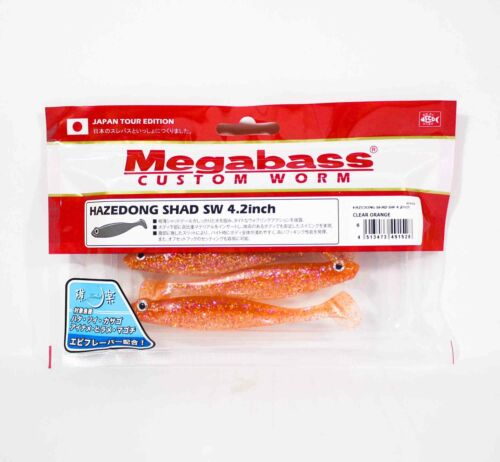 Megabass Soft Lure Hazedong Shad SW 4.2 Inches Clear Orange 1528