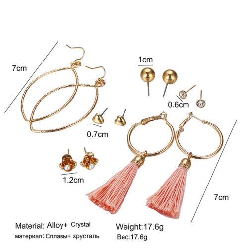 Long Tassel Stud Earrings Set Fashion Round Irregular Stainless Steel Earrings