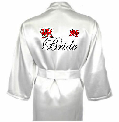 Personalised Welsh Dragon Robe / Dressing Gown Gift For Bride Briodferch Wedding