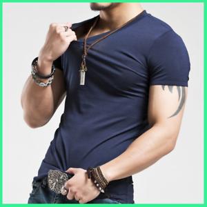 Camiseta elástica para hombres con cuello en V manga corta larga casual de moda