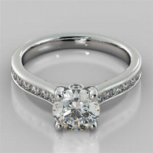 2.44 Ct Round Moissanite Engagement Bridal Ring 18K Real White Gold ring Size 6