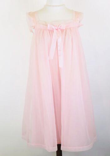 Vintage 50s Henson Kickernick Pink Chiffon Peignoi