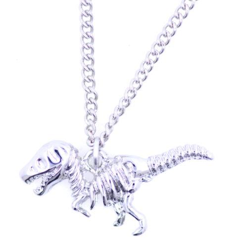 Fresco tono esqueleto de dinosaurio raptor collar del encanto de plata