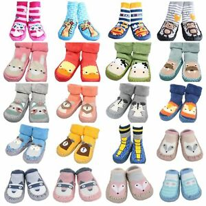 Baby Boy Indoor Striped Slippers Shoe Socks Moccasins Ancient Animals