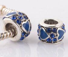 2pcs silver love blue LAMPWORK CZ spacer beads fit Charm European Bracelet #F971