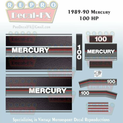 1989-90 Mercury 100HP Outboard Repro 21Pc Decal Leather look stripe