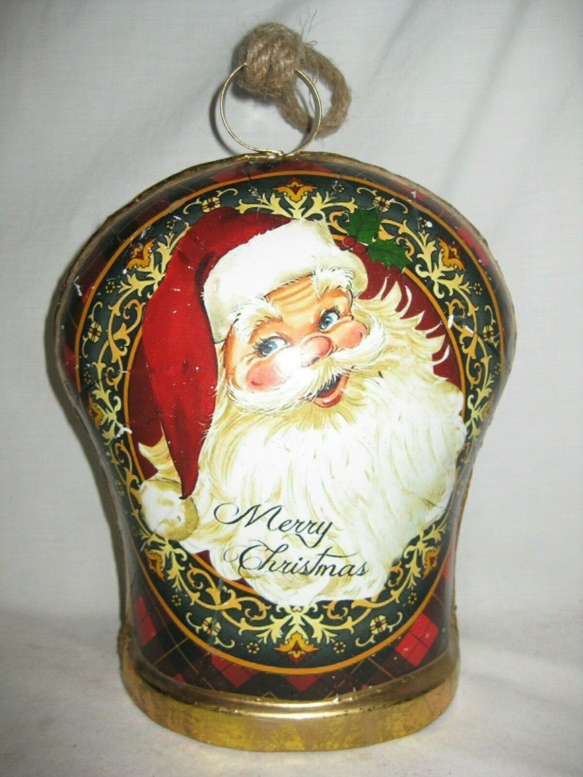 Jumbo 10  Merry Christmas Santa Claus cow bell cowbell metal wood holiday