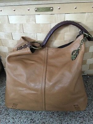 LUCKY  BRAND   WHIPSTITCH  TAN SOFT  LEATHER   SHOULDER  BAG  HOBO
