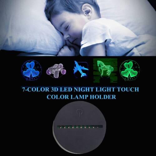 Neu 3D Led Lamp Base Licht Nachtlicht USB Touch 7 Farben ändern Lampenfassung