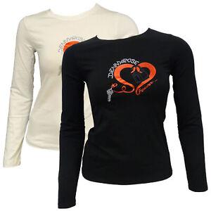 T-shirt-Maglia-Maniche-Lunghe-Girocollo-Crew-Neck-DENNY-ROSE-Donna-Woman-Nero-Bl