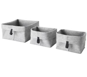 Ikea Raggisar Korb 3er Set Grau Korbset Körbe Filz Fach Badkorb
