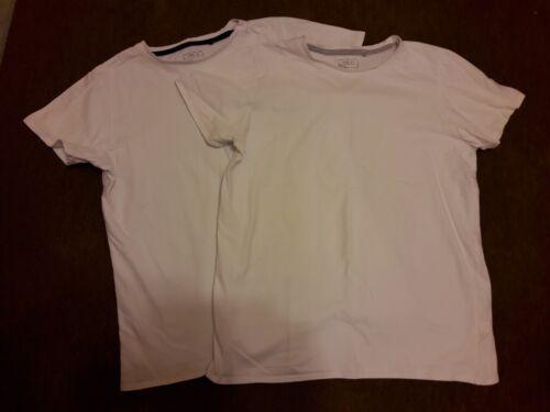 2 x per Ragazzo Bianco Manica Corta Scuola T-Shirt età 15 anni.