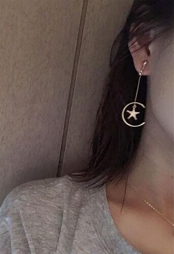 18K GOLD GP STAR MOON mini Pearl TWIST DROP LADIES DESIGNER ASYMMETRIC EARRINGS