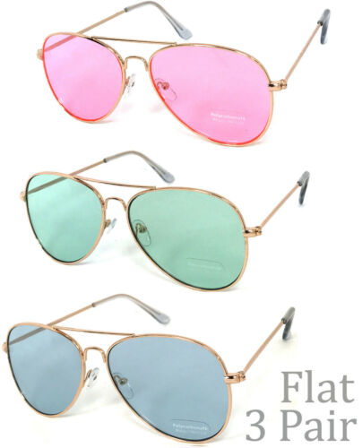 3 Pairs Aviator Flat Top Sunglasses Gold Metal Frame Polycarbonate Lens UV400