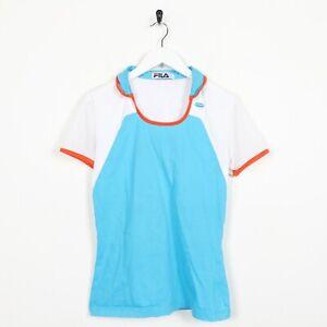 Vintage-Women-039-s-90-s-FILA-petit-logo-a-Col-T-Shirt-Tee-Bleu-Blanc-Medium-M