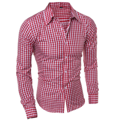 Men/'s Slim Fit Shirt Long Sleeve Button Down Tops Gingham Casual Formal Dress