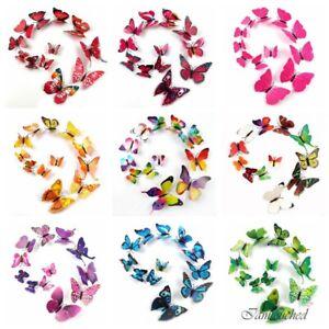 3D-Papillon-Sticker-Art-Design-Wall-Decals-Noel-ornement-decoration-maison-Aimant