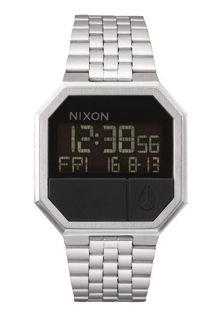 New Nixon Re-Run Digital Watch Silver Black